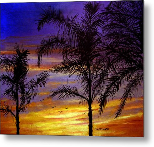 Landscape Metal Print featuring the painting California Sunset by Olga Kaczmar