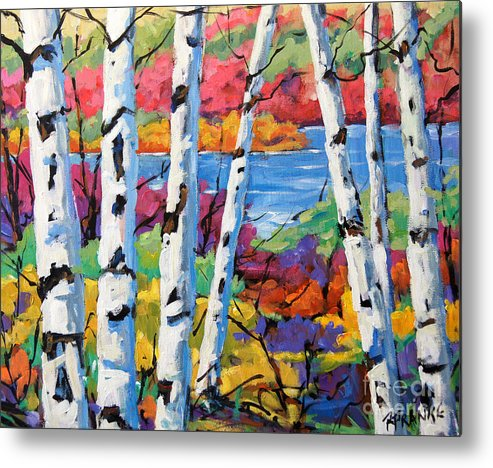 Canadian Landscape Created By Richard T Pranke Metal Print featuring the painting Canadian Birches By Prankearts by Richard T Pranke