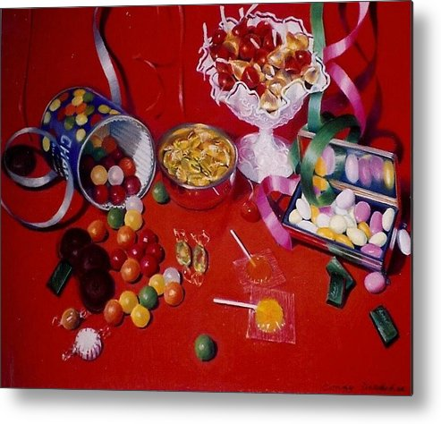 Red Metal Print featuring the pastel Candy by Constance Drescher