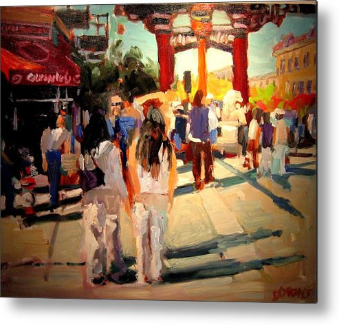 Landscape Paintings Metal Print featuring the painting Chinatown by Brian Simons