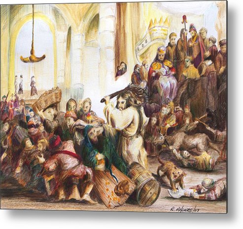Jesus Metal Print featuring the drawing Christ Driving Out The Money Changers by Rick Ahlvers