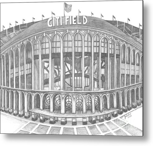 Citi Field Metal Print featuring the drawing Citi Field by Juliana Dube