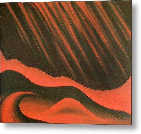 Red Metal Print featuring the painting Climate Control by Michael Morgan