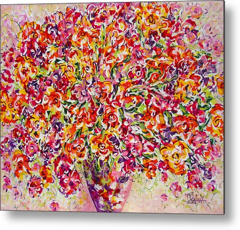 Framed Prints Metal Print featuring the painting Colorful Organza by Natalie Holland