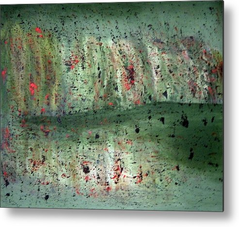 Abstract Metal Print featuring the painting Composition In Green by Mushtaq Bhat