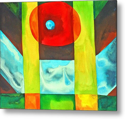 Abstract Spiritual Consciousness Non-conceptual Colourful Metal Print featuring the painting Consciousness Floating Free Of Concepts by Jennifer Baird