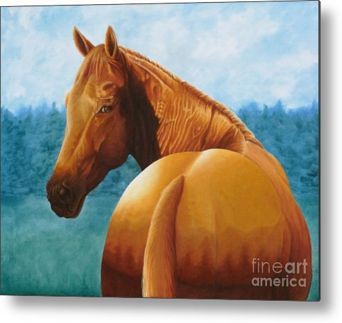Oil Metal Print featuring the painting Copper Bottom - Quarter Horse by Pauline Sharp