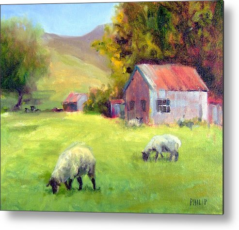 Sheep Metal Print featuring the painting Coromandel New Zealand Sheep by Michelle Philip