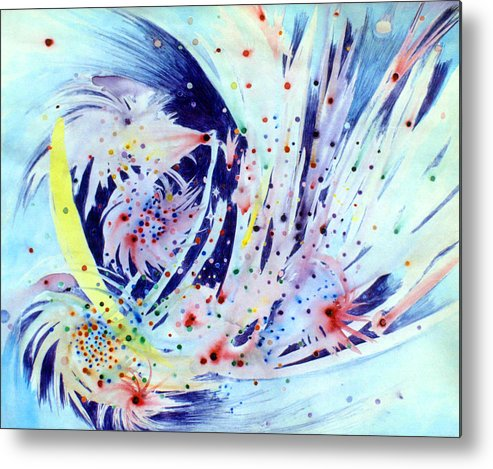 Abstract Metal Print featuring the painting Cosmic Candy by Steve Karol