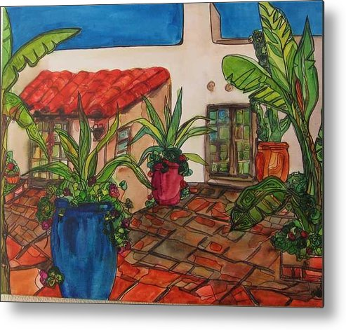 Metal Print featuring the painting Courtyard In Rancho Santa Fe by Michelle Gonzalez