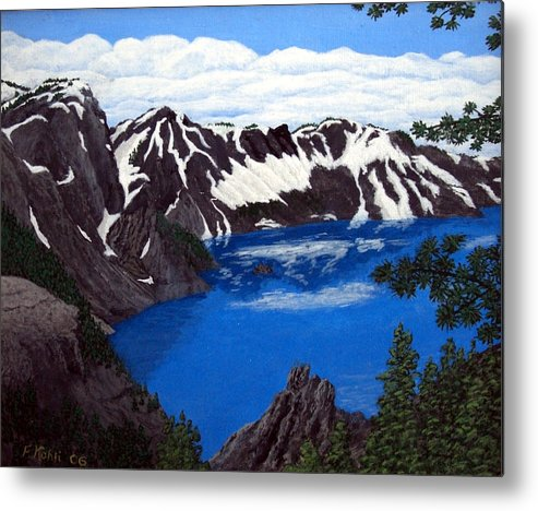 Art Metal Print featuring the painting Crater Lake by Frederic Kohli