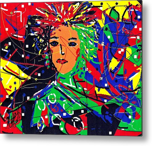 Woman Metal Print featuring the digital art Cyberspace Goddess by Natalie Holland