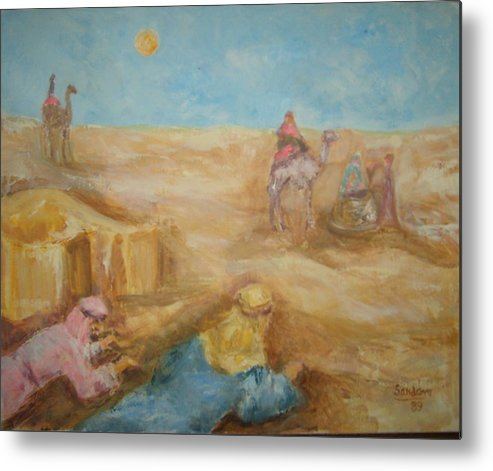 Landscape Camels Arabs Desert Animal Tents Metal Print featuring the painting Desert by Joseph Sandora Jr