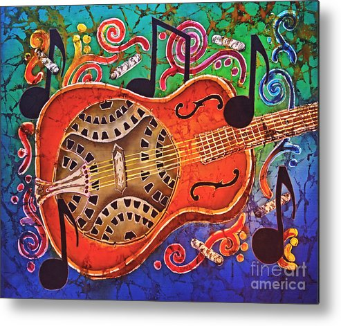 Dobro Metal Print featuring the tapestry - textile Dobro - Slide Guitar by Sue Duda