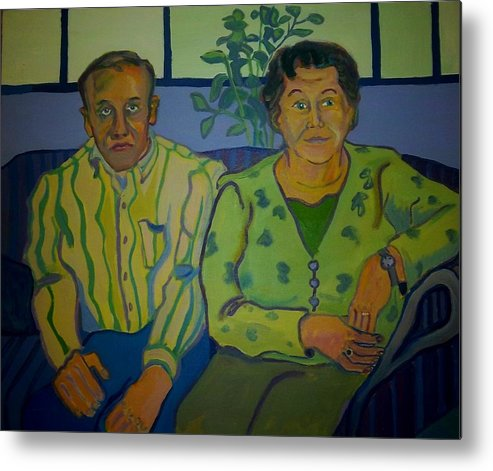 Older Couple Metal Print featuring the painting Dottie And Jerry by Debra Bretton Robinson