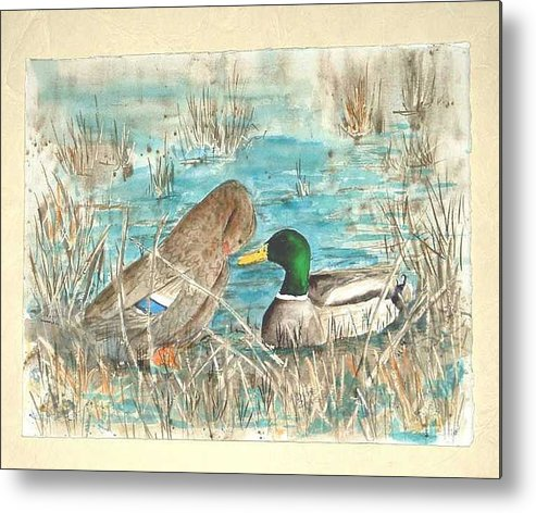 Mallards Metal Print featuring the painting Drake And Hen by Diane Ziemski