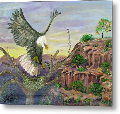 Eagle Metal Print featuring the painting Eagles Nest by Mikki Alhart