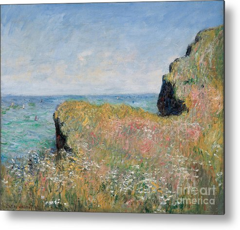 Monet Metal Print featuring the painting Edge Of The Cliff Pourville by Claude Monet
