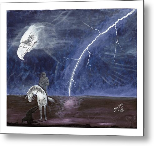 Lightning Metal Print featuring the painting End Of The Trail by Derek Snapps Keenatch