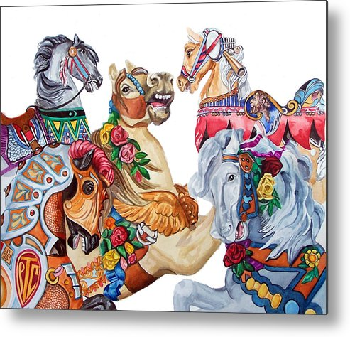 Carousel Horses Metal Print featuring the print Escapade by Bette Gray