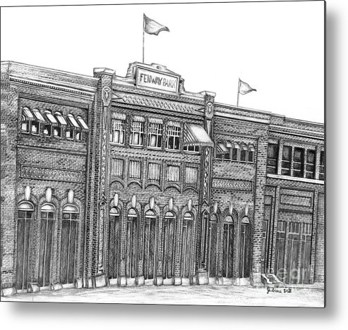 Fenway Park Metal Print featuring the drawing Fenway Park by Juliana Dube