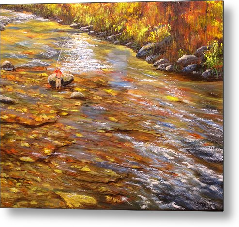Connie Tom Metal Print featuring the painting Fishing Delight by Connie Tom