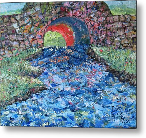 Landscape Metal Print featuring the painting Flowing On by Judith Espinoza