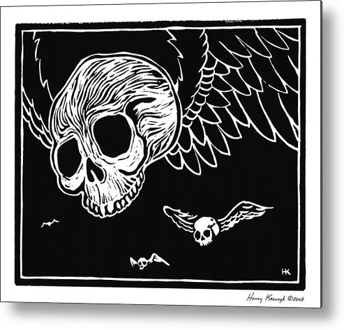 Krauzyk Metal Print featuring the print Flying Skulls by Henry Krauzyk