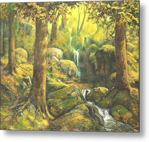 Landscape Metal Print featuring the painting Forest Enchantment by Craig shanti Mackinnon
