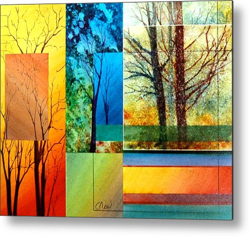 Trees Metal Print featuring the painting Four Seasons by Claude Noel