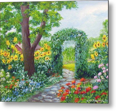 Landscape;garden;sunflowers;archway;stone Path;summer; Metal Print featuring the painting Garden With Sunflowers by Lois Mountz