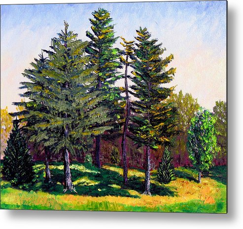 Landscape Metal Print featuring the painting Garfield Trees by Stan Hamilton
