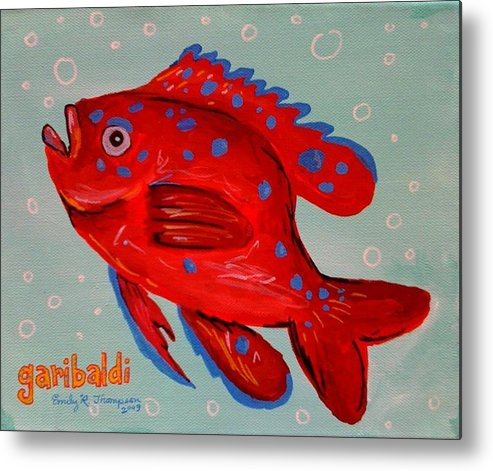 Fish Whimsical Animal Tropical Garibaldi Metal Print featuring the painting Garibaldi by Emily Reynolds Thompson