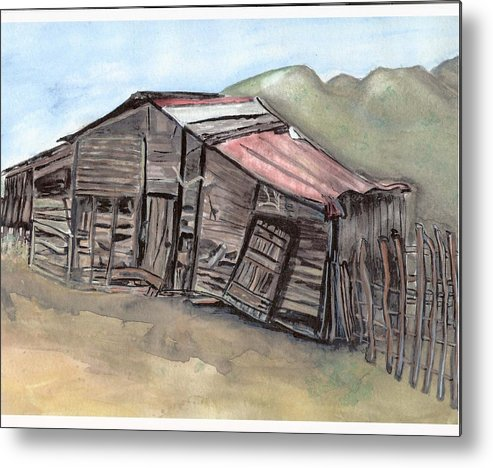Barn Metal Print featuring the painting Gila New Mexico Cattle Barn by Margaret Fortunato