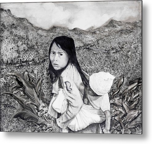 Girl Metal Print featuring the painting Girl With Babie by Fernando Armel