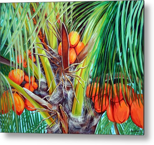 Coconuts Metal Print featuring the painting Golden Coconuts by Jose Manuel Abraham