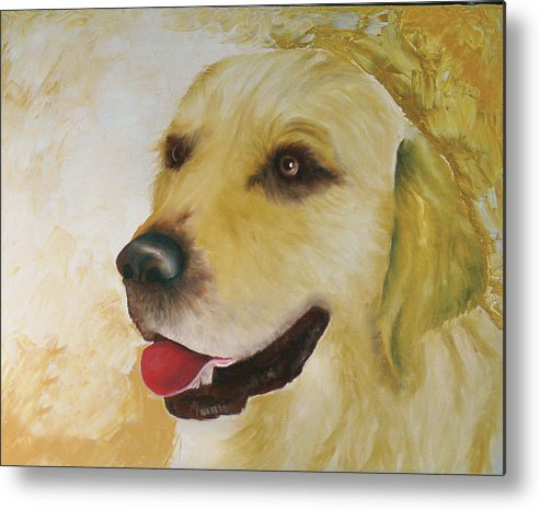 Metal Print featuring the painting Golden Retriever by Dick Larsen