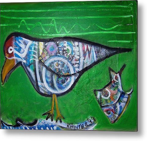 Abstract Red Blue Yellow Purple Metal Print featuring the mixed media Gull by Dave Kwinter