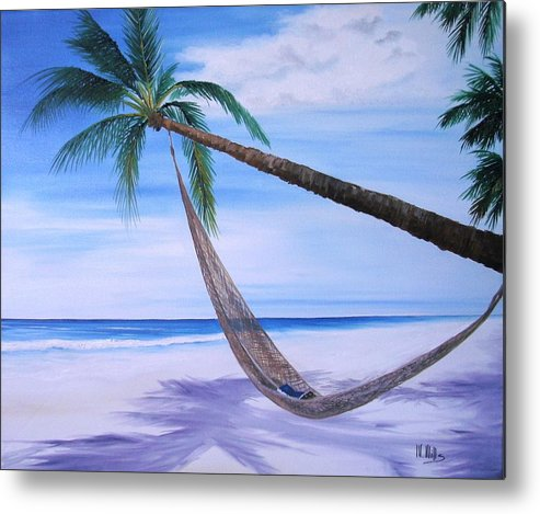 Beach Metal Print featuring the painting Hammock by Maria Mills