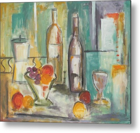 Abstract Metal Print featuring the painting Happy Hour I by Trish Toro