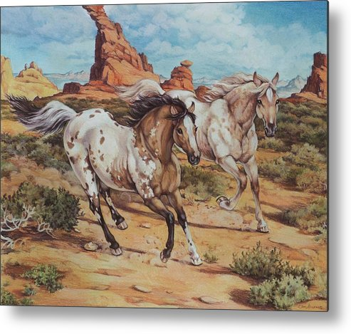 Horses Metal Print featuring the painting Harley And Ghost Walker Out For A Run by Eden Alvernaz
