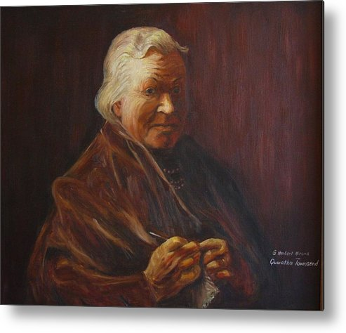 Woman Metal Print featuring the painting Herbert Abrams Mother by Quwatha Valentine