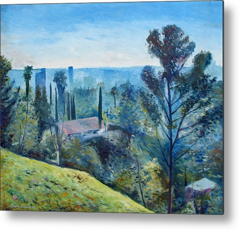 Hollywood Metal Print featuring the painting Hollywood Hills California Usa 1997 by Enver Larney