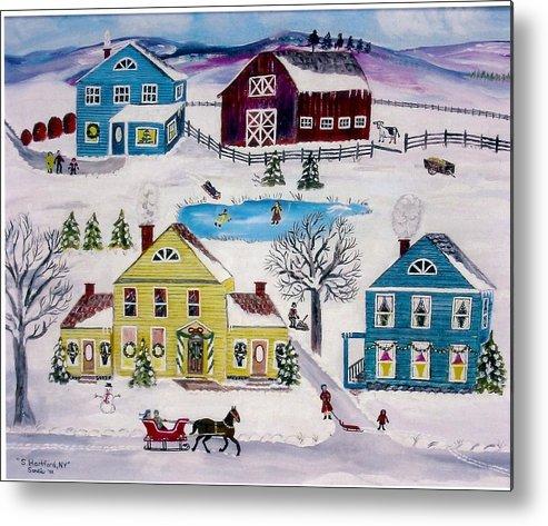 Folk Art Metal Print featuring the painting Home Sweet Home by Sandie Keyser