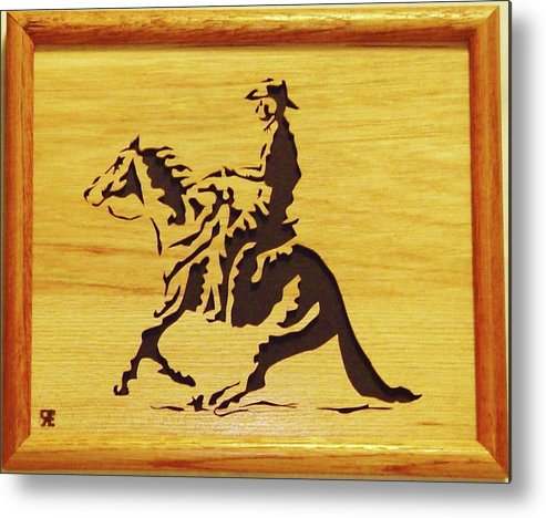 Sculpture Metal Print featuring the sculpture Horse With Rider by Russell Ellingsworth