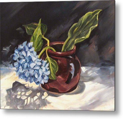 Still Life Metal Print featuring the painting Hydrangea In A Bean Pot by Cheryl Pass