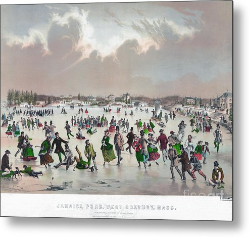 1859 Metal Print featuring the painting Ice Skating, C1859 by Granger