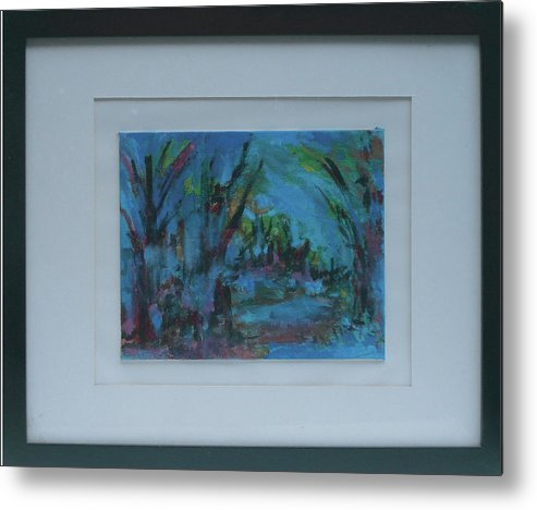 Landscape Metal Print featuring the painting In The Woods by Vivien Ferrari