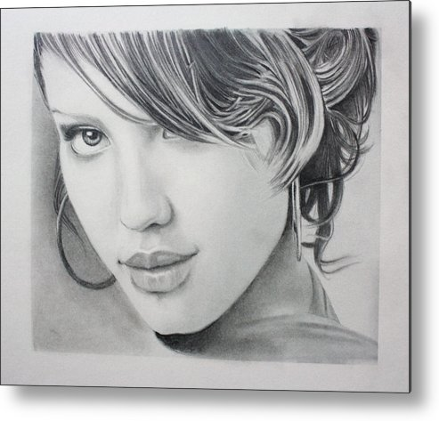 Portrait Drawing Metal Print featuring the drawing Jessica by Ted Castor