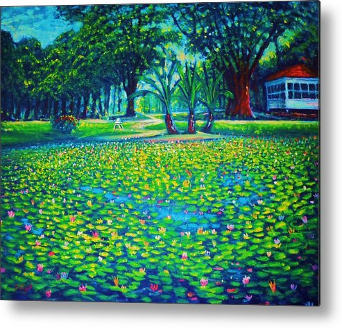 Landscape Metal Print featuring the painting Kapiolani Park Circ 1933 by Joseph  Ruff